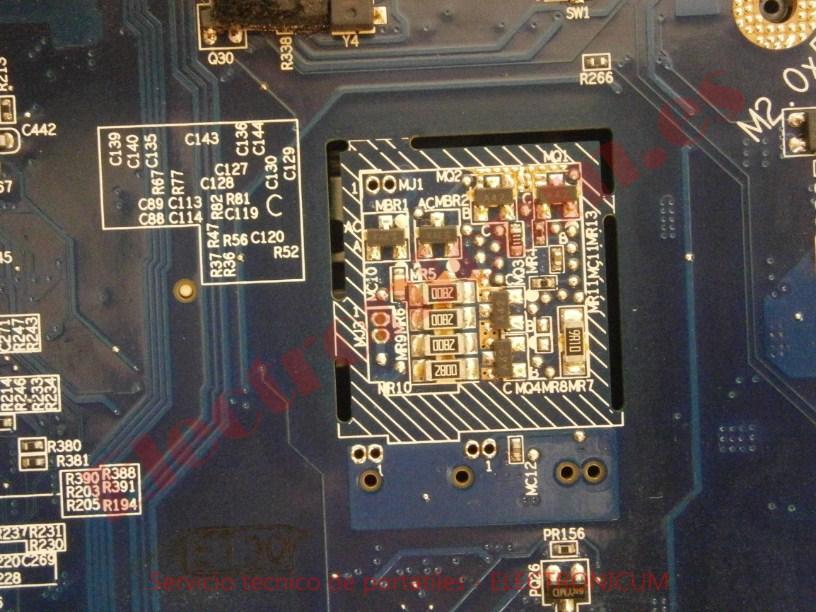 reparar condensador en corto Compaq C700